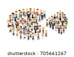 pie chart with people on white... | Shutterstock . vector #705661267