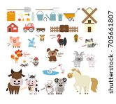 farm animals and equipment set. ... | Shutterstock . vector #705661807
