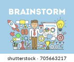 brainstorming illustration... | Shutterstock . vector #705663217
