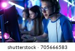 team of teenage gamers play in... | Shutterstock . vector #705666583