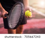 a tennis player prepares to... | Shutterstock . vector #705667243