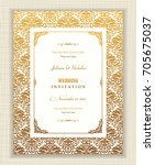 wedding invitation cards in an... | Shutterstock .eps vector #705675037