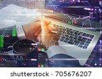 business man on digital stock... | Shutterstock . vector #705676207