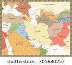 southwest asia map retro color. ... | Shutterstock .eps vector #705680257