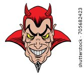man masked in a devil cartoon... | Shutterstock .eps vector #705682423