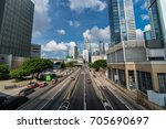 hongkong   july 10   traffic on ...   Shutterstock . vector #705690697