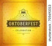 oktoberfest beer festival... | Shutterstock .eps vector #705693313