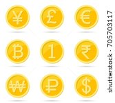 coin icons set | Shutterstock .eps vector #705703117