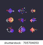 vector set of color line modern ... | Shutterstock .eps vector #705704053