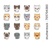 cute cartoon cats and dogs with ...   Shutterstock .eps vector #705704383