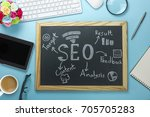 top view of seo search engine... | Shutterstock . vector #705705283