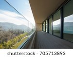 beautiful balcony with windows. ... | Shutterstock . vector #705713893