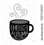 cute hand drawn coffee cup with ... | Shutterstock .eps vector #705715957