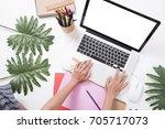 designer office desk with... | Shutterstock . vector #705717073