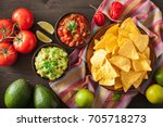 mexican guacamole and salsa dip ...   Shutterstock . vector #705718273