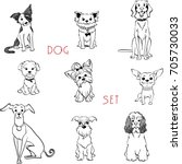 vector set black and white dogs ...