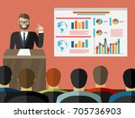 press conference. man standing... | Shutterstock .eps vector #705736903