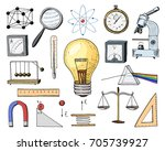atom and voltmeter with... | Shutterstock .eps vector #705739927