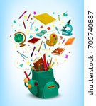 back to school poster of... | Shutterstock .eps vector #705740887