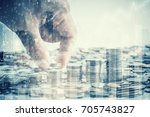 double exposure of coins and...   Shutterstock . vector #705743827