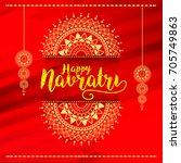 illustration of happy navratri... | Shutterstock .eps vector #705749863
