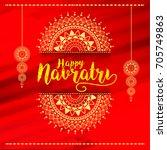 illustration of happy navratri... | Shutterstock .eps vector #705749863