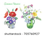 Summer Bouquets In Vases. A...