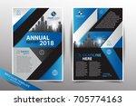 blue annual report 2018 leaflet ... | Shutterstock .eps vector #705774163