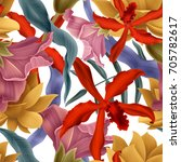 seamless tropical flower  plant ... | Shutterstock . vector #705782617