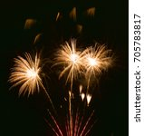 orange fireworks close up... | Shutterstock . vector #705783817