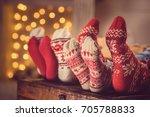 partial view of feet in... | Shutterstock . vector #705788833
