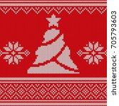 red knitted sweater with... | Shutterstock .eps vector #705793603