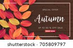 autumn sale background layout... | Shutterstock .eps vector #705809797