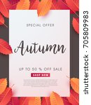 autumn sale background layout... | Shutterstock .eps vector #705809983