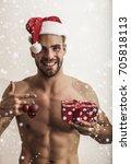 happy man. christmas man. santa ... | Shutterstock . vector #705818113