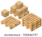 set pallet and cardboard boxes. ... | Shutterstock .eps vector #705836797