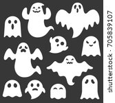 set of cute ghost creation kit  ... | Shutterstock .eps vector #705839107