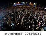 madrid   jun 24  the crowd in a ... | Shutterstock . vector #705840163