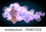 dark magic. mysterious girl... | Shutterstock .eps vector #705857533