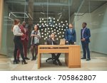 business man working at office... | Shutterstock . vector #705862807