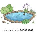 pond graphic color landscape... | Shutterstock .eps vector #705873247