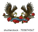embroidery with roses and an... | Shutterstock .eps vector #705874567