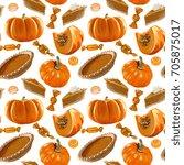 seamless vector pumpkin pie... | Shutterstock .eps vector #705875017