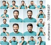 set of handsome emotional man... | Shutterstock . vector #705894187