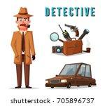 funny detective character.... | Shutterstock .eps vector #705896737