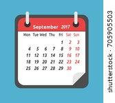 monthly calendar for september... | Shutterstock .eps vector #705905503