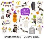 set of halloween sign  symbol ... | Shutterstock .eps vector #705911803