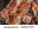 grilled pork ribs on the grill...   Shutterstock . vector #705917197