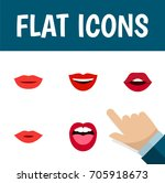 flat icon mouth set of pomade ... | Shutterstock .eps vector #705918673