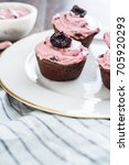 chocolate coffee cupcakes with... | Shutterstock . vector #705920293